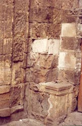 Deterioration of the mastaba (sitting bank ) at the entrance right side