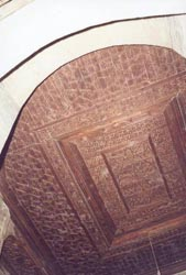 Sabil wooden ceiling (ground floor); Deterioration of decorated motifs Due to rain water infiltration through the roof.